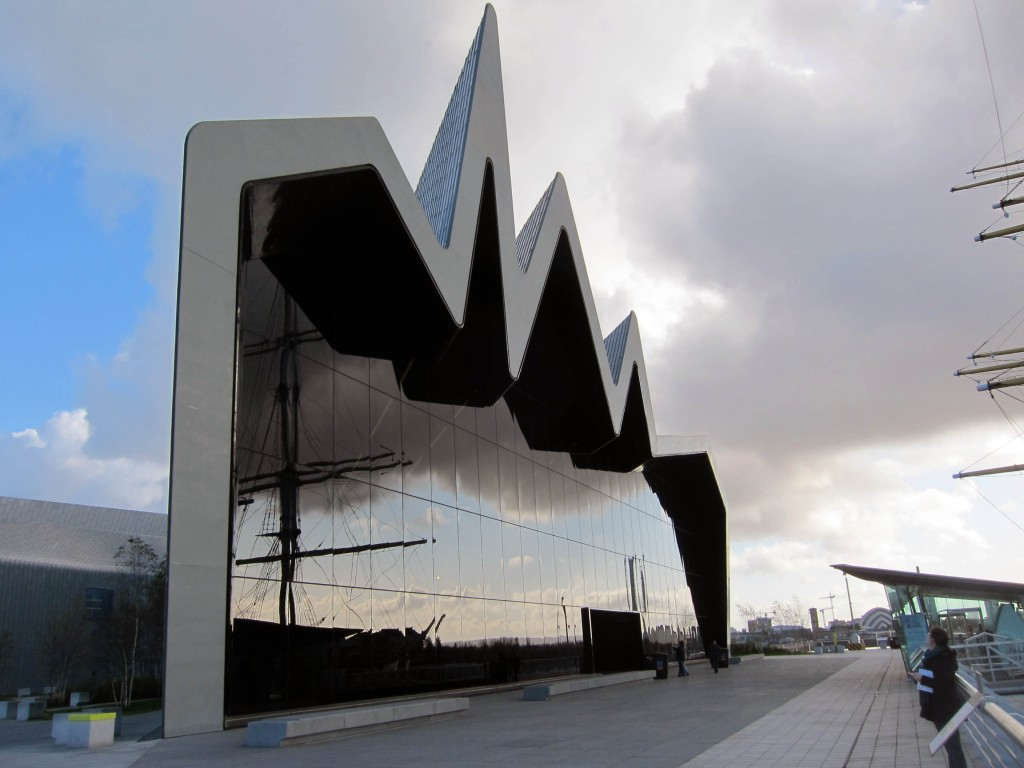 Outside of the Riverside Transport Museum in Glasgow