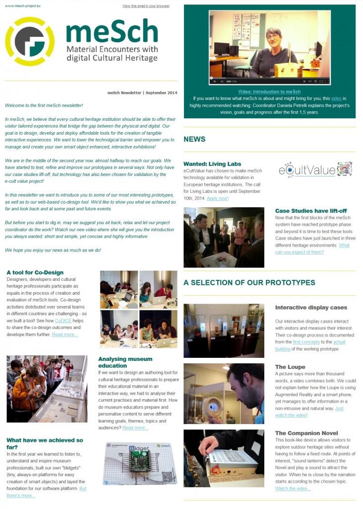 Screenshot of the first meSch newsletter